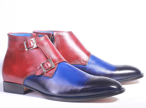 Handmade Leather Multi Color Brogue Toe boots, Men Double Monk Side & Zipper Boots - theleathersouq
