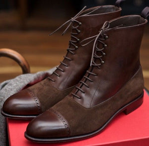 Handmade Men Brown Leather Suede Ankle Boots, Men Designer Dress Formal Boots - theleathersouq