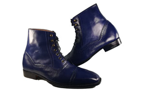 Handmade Men's Blue Cap Toe Leather Ankle Boots, Men Fashion Designer Boots - theleathersouq