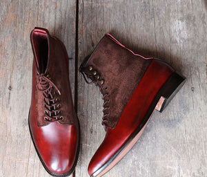 Handmade Men Burgundy Leather Brown Suede Ankle Boots, Men Designer Dress Formal Boots - theleathersouq