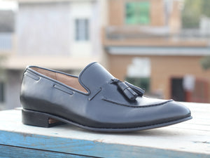 Handmade Men's Black Tussle Leather Loafer Shoes, Men Dress Formal Designer Shoes - theleathersouq