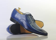 Load image into Gallery viewer, Handmade Men Blue Leather Pointed Toe Shoes, Men Dress Formal Designer Shoes - theleathersouq