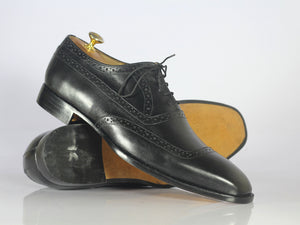 Handmade Men's Black Leather Square Toe Shoes, Men Dress Formal Designer Shoes - theleathersouq