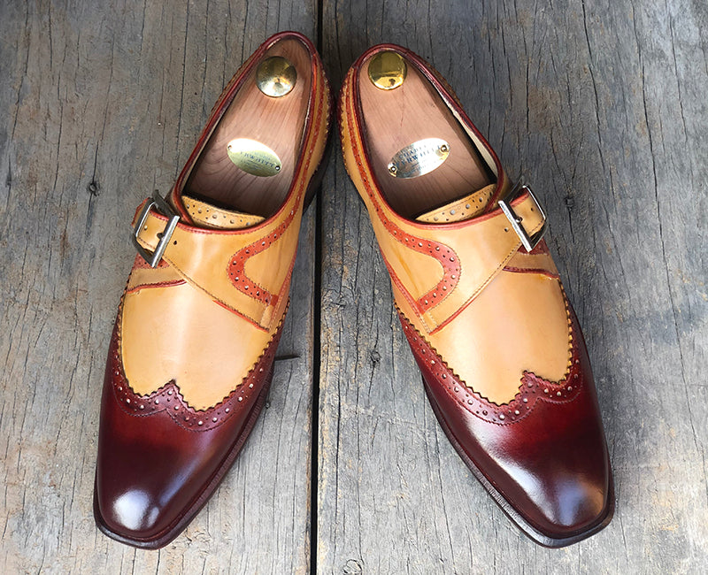 Handmade Men's Tan Burgundy Wing Tip Leather Shoes, Men Monk Strap Designer Shoes - theleathersouq
