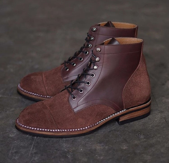 Handmade Men's Brown Ankle High Dress Boots, Men Leather Suede Designer Boots - theleathersouq