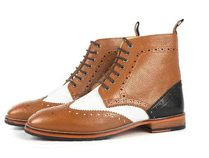 Handmade Men Brown White Wing Tip Ankle Boots, Men Pebbled Leather Designer Boots - theleathersouq