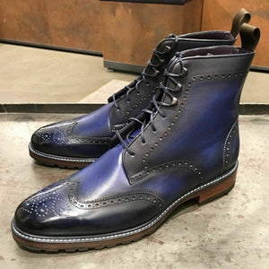 Handmade Men Blue Wing Tip Brogue Ankle Boots, Men Leather Designer Fashion Boots - theleathersouq