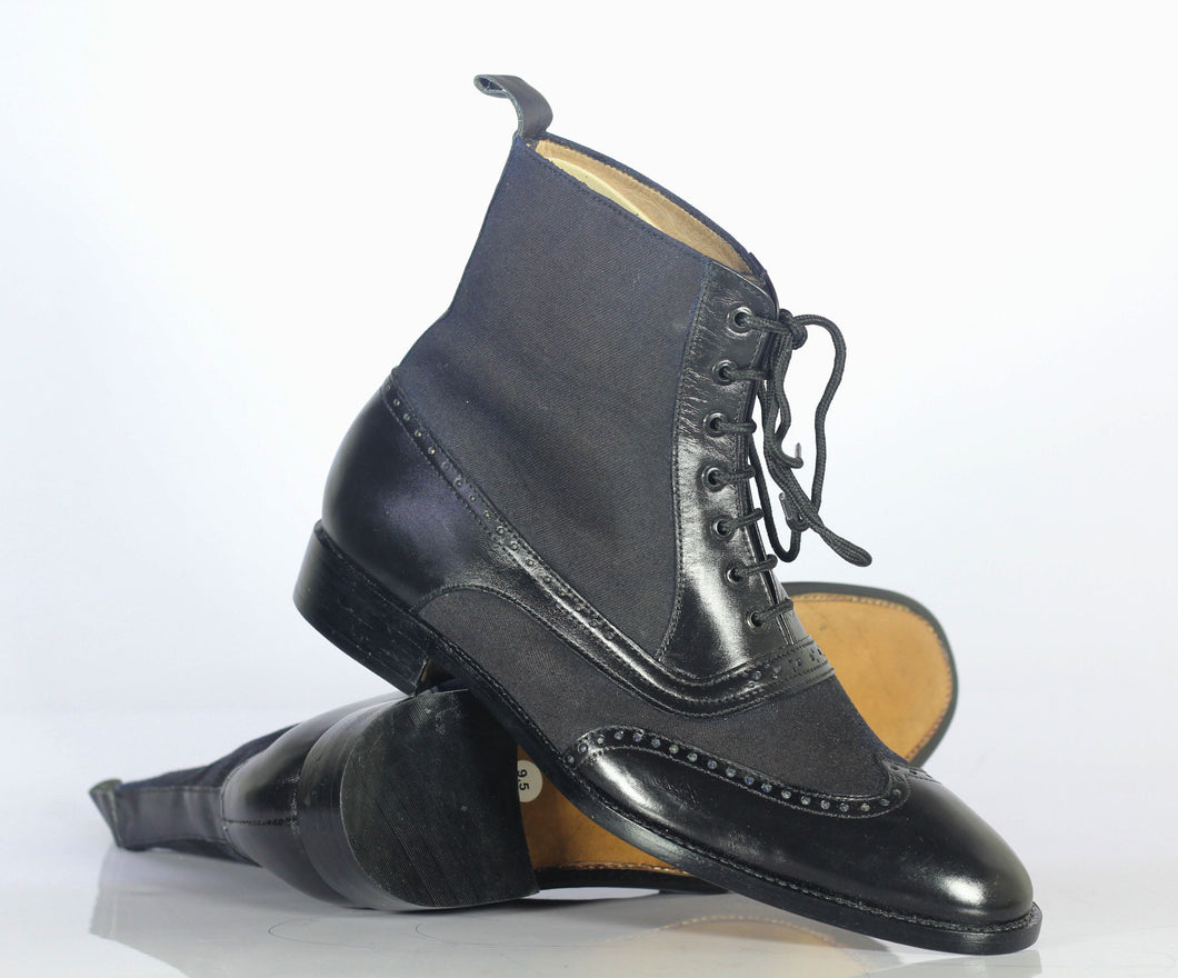 Handmade Men Black Wing Tip Ankle Boots, Men Leather Denim Designer Fashion Boots - theleathersouq