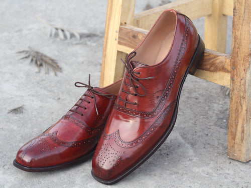 Elegant Handmade Men's Burgundy Wing Tip Brogue Shoes, Men Leather Designer Shoes - theleathersouq
