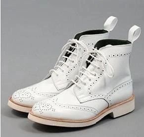 Stylish Handmade Men's White Wing Tip Brogue Ankle Boots, Men Leather Designer Fashion Boots - theleathersouq