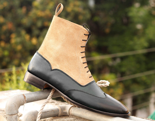 Elegant Handmade Men's Black Beige Dress Ankle High Boots, Men Leather Suede Designer Boots - theleathersouq