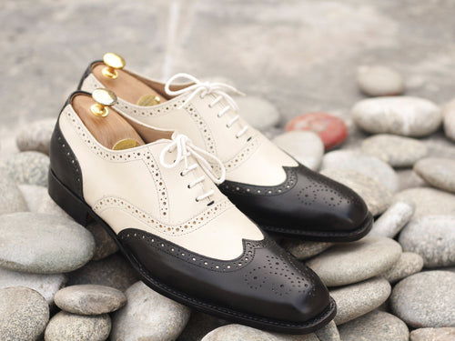 Beautiful Handmade Men's Black & White Wing Tip Brogue Leather Shoes, Men Designer Shoes - theleathersouq
