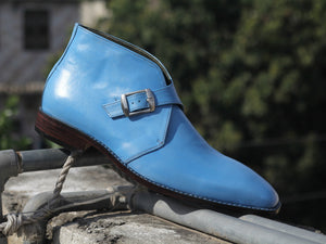 Stylish Handmade Men's Blue Buckle Ankle Boots, Men Leather Chukka Designer Boots - theleathersouq