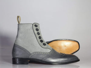 New Designer Handmade Men's Gray Wing Tip Ankle Boots, Men Leather Suede Button Boots - theleathersouq