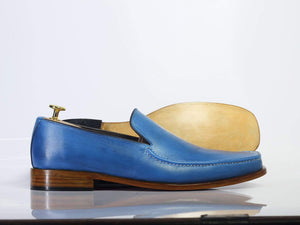 New Stylish Handmade Men's Plain Elegant Party Blue Leather Loafers, Men Designer Moccasin Shoes - theleathersouq