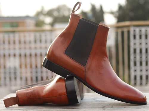 Awesome Handmade Men's Tan Leather Chelsea Boots, Men Fashion Ankle Boots, Men Designer Boots - theleathersouq