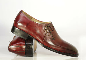Men's Handmade Oxford Leather Burgundy Shoes, Men Side Lace Up Designer Shoes - theleathersouq