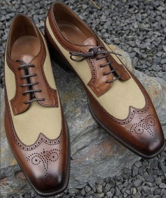 New Handmade Men's Brown Beige Wing Tip Brogue Leather Suede Shoes, Men Designer Shoes - theleathersouq