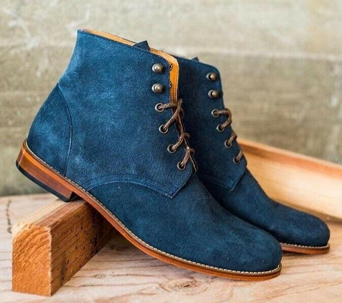 Men's Handmade Blue Suede Lace Up Ankle Boots, Men Designer Fashion Dress Boots - theleathersouq
