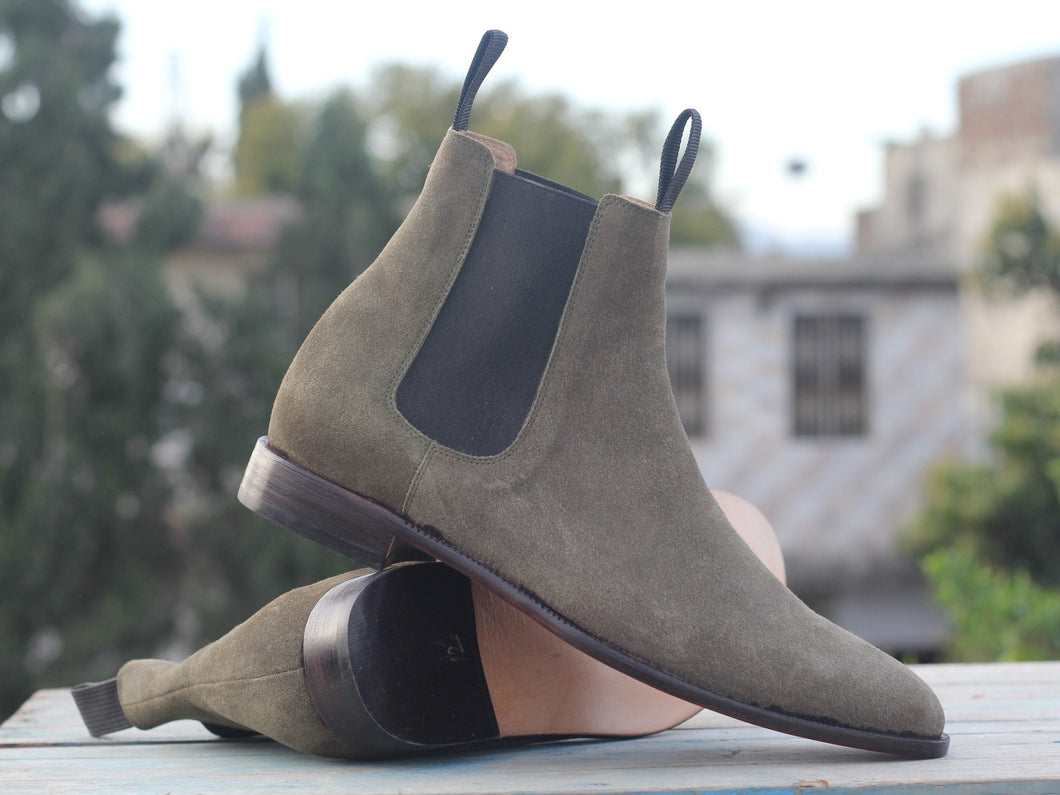 New Handmade Men's brown Suede Chelsea Boots, Men Suede Ankle Boots, Men Designer Boots - theleathersouq
