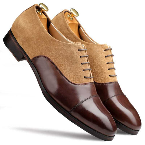 Elegant Men's  Handmade Brown Beige Wing Tip Lace Up Shoes, Men Leather Suede Designer Shoes - theleathersouq