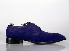 Load image into Gallery viewer, New Men's Handmade Blue Wing Tip Lace Up Shoes, Men Suede Designer Shoes - theleathersouq