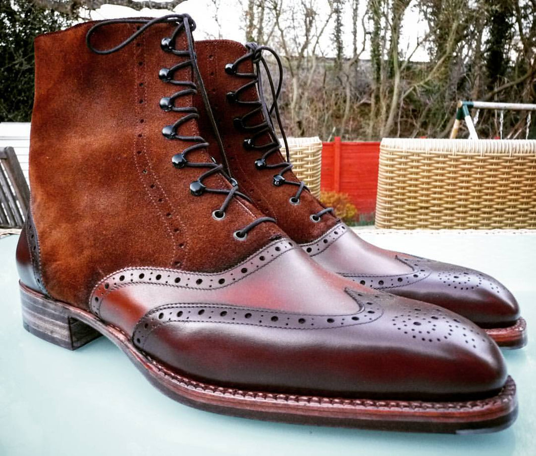 Men's Handmade Brown Wing Tip Brogue Leather Suede Ankle Boots, Men Designer Boots - theleathersouq
