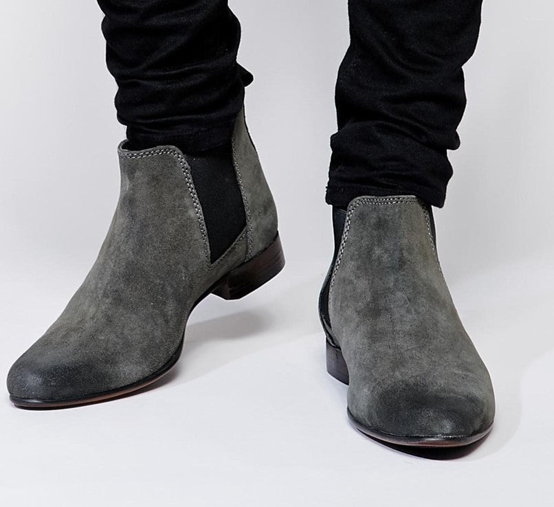 Stylish Handmade Men's Grey Color Boots, Suede Ankle High Chelsea Dress Slip On Boots - theleathersouq