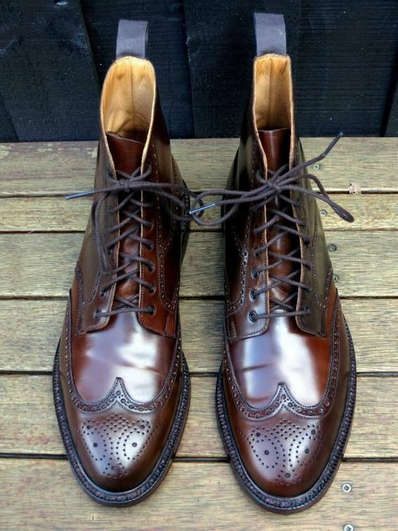 Men's Handmade Brown Wing Tip Brogue Leather Ankle Boots, Men Designer Boots - theleathersouq