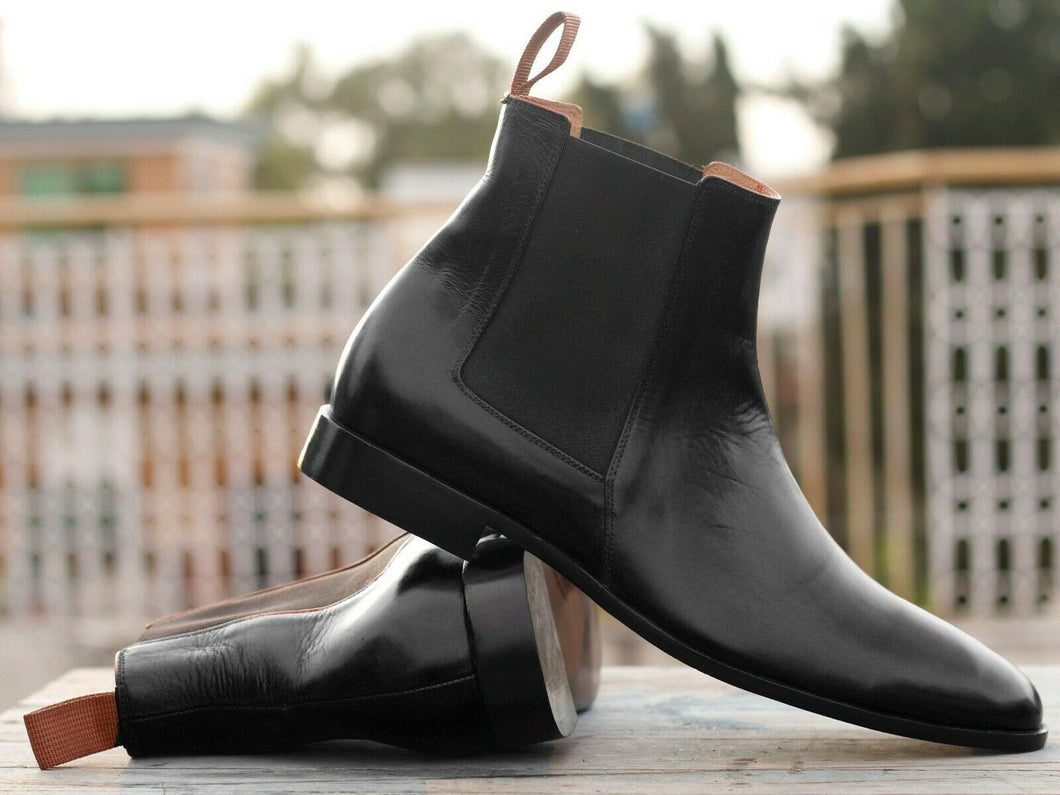 Men's Handmade Black Leather Chelsea Boots, Men Ankle Boots, Men Designer Boots - theleathersouq