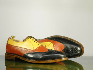Men's Handmade Multi Color Wing Tip Brogue Leather Lace Up Shoes, Men Designer Dress Shoes - theleathersouq