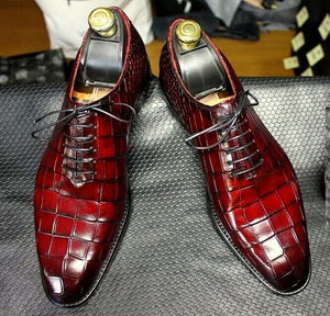 Elegant Men's Handmade Red Aligator Textured Leather Lace Up Derby Shoes, Men Designer Dress Shoes - theleathersouq