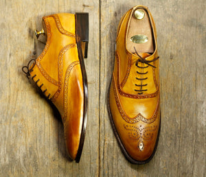 Stylish Handmade Men's Tan Wing Tip Brogue Leather Lace Up Formal Shoes, Men Designer Dress Shoes - theleathersouq