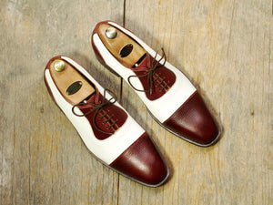 New Men's Handmade White Burgundy Cap Toe Lace Up Formal Shoes, Men Designer Shoes - theleathersouq