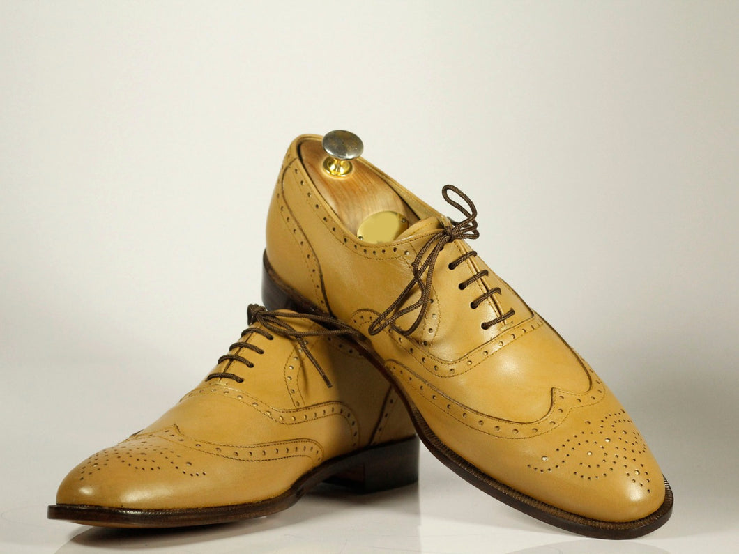 Handmade Men's Sand Color Wing Tip Brogue Leather Lace Up Shoes, Men Designer Dress Formal Shoes - theleathersouq