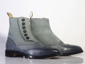 Men's Handmade Gray Wing Tip Leather Suede Buttons Ankle Boots, Men Designer Fashion Boots - theleathersouq