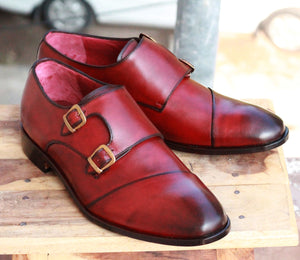 Handmade Men's Burgundy Wing Tip Leather Double Monk Strap Shoes, Men Designer Dress Formal Shoes - theleathersouq