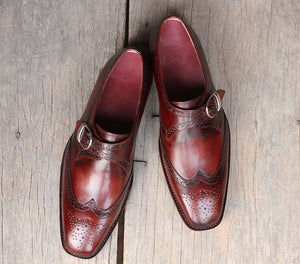 Handmade Men's Burgundy Wing Tip Brogue Goodyear Welted Leather Monk Strap Shoes, Men Designer Dress Formal Shoes - theleathersouq