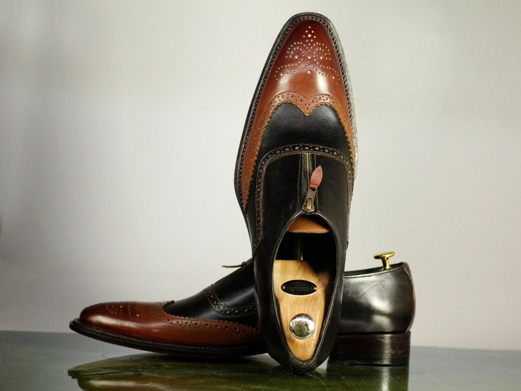 Handmade Men's Black Brown Wing Tip Brogue Leather Top Zipper Closure Shoes, Men Designer Dress Formal Shoes - theleathersouq