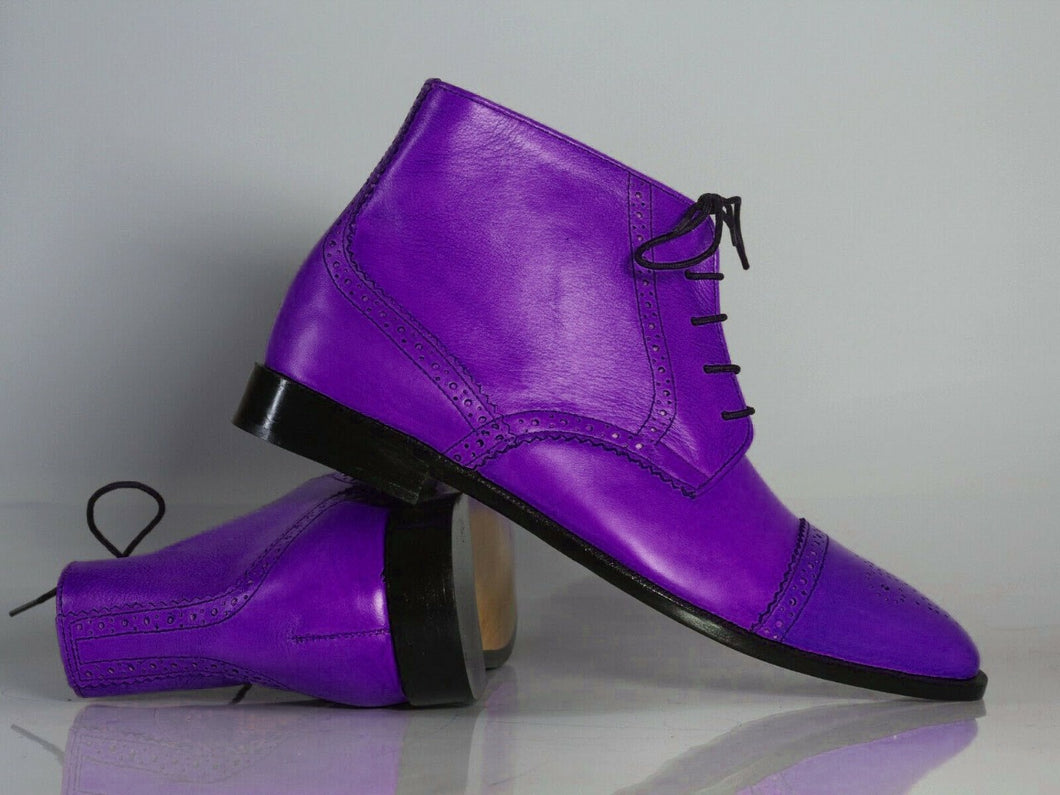 Handmade Men's Purple Leather Cap Toe Lace Up Chukka Boots, Men Half Ankle Boots, Men Designer Boots - theleathersouq