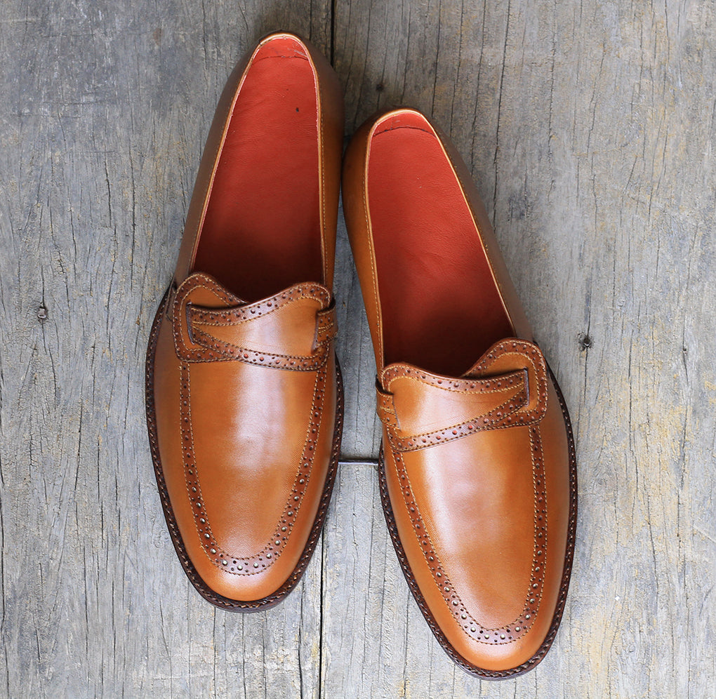 New Handmade Men's Brown Leather Butterfly Loafer Dress Shoes, Men Designer Shoes - theleathersouq