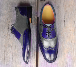 Handmade Men's Gray Navy Wing Tip Leather Lace Up Shoes, Men Designer Dress Formal Shoes - theleathersouq