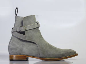 Handmade Men's Gray Suede Jodhpur Boots, Men Ankle Boots, Men Designer Boots - theleathersouq