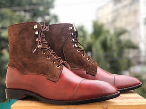 Handmade Men's Brown Cap Toe Leather Suede Lace Up Boots, Men Ankle Boots, Men Designer Boots - theleathersouq