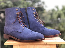 Load image into Gallery viewer, Men's Handmade Blue Wing Tip Brogue Suede Lace Up & Side Zipper Boots, Men Ankle Boots, Men Designer Boots - theleathersouq