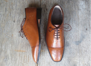 Handmade Men's Tan Cap Toe Brogue Leather Lace Up Shoes, Men Designer Dress Formal Shoes - theleathersouq