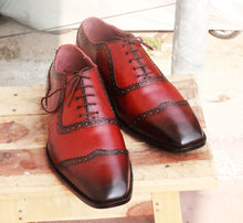 Load image into Gallery viewer, Handmade Men's Burgundy Wing Tip Leather Lace Up Shoes, Men Designer Dress Formal Shoes - theleathersouq