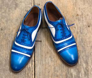 Handmade Men's White Blue Cap Toe Leather Lace Up Shoes, Men Designer Dress Formal Shoes - theleathersouq