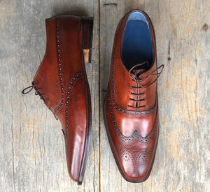 Handmade Men's Burgundy Wing Tip Brogue Leather Lace Up Shoes, Men Designer Dress Formal Shoes - theleathersouq