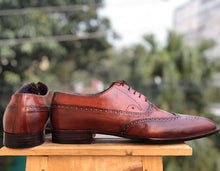 Load image into Gallery viewer, Handmade Men's Burgundy Wing Tip Brogue Leather Lace Up Shoes, Men Designer Dress Formal Shoes - theleathersouq